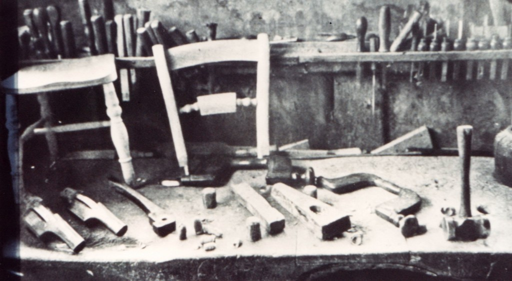 Tools and parts of a chair