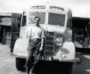 Cyril Barrett with Bedford OB coach KGW126 - 1953